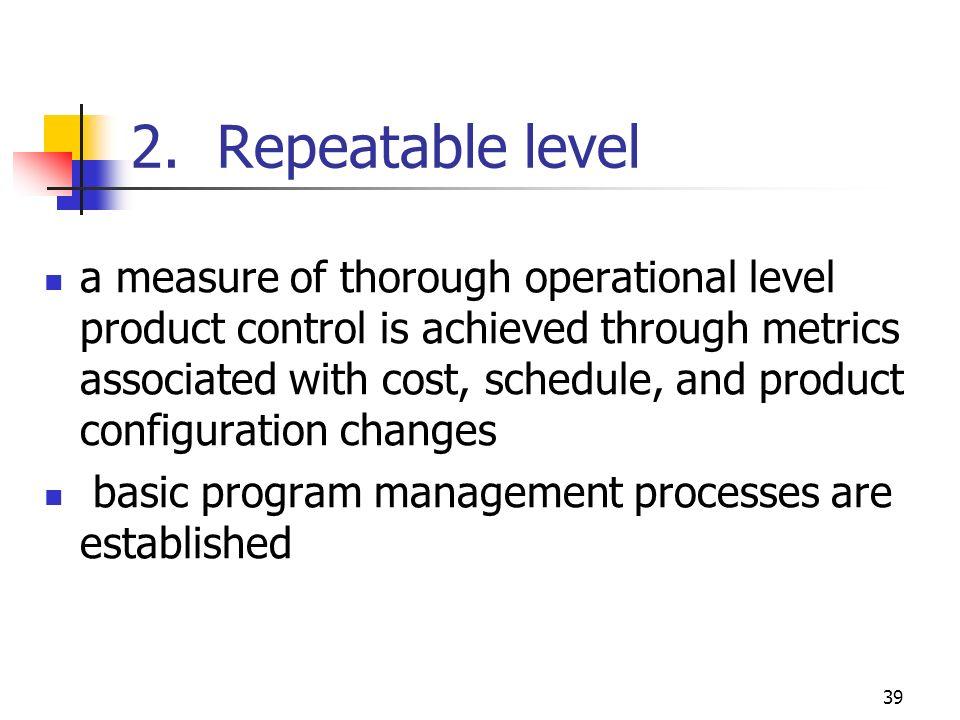 2. Repeatable level