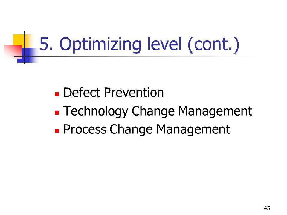 5. Optimizing level (cont.)