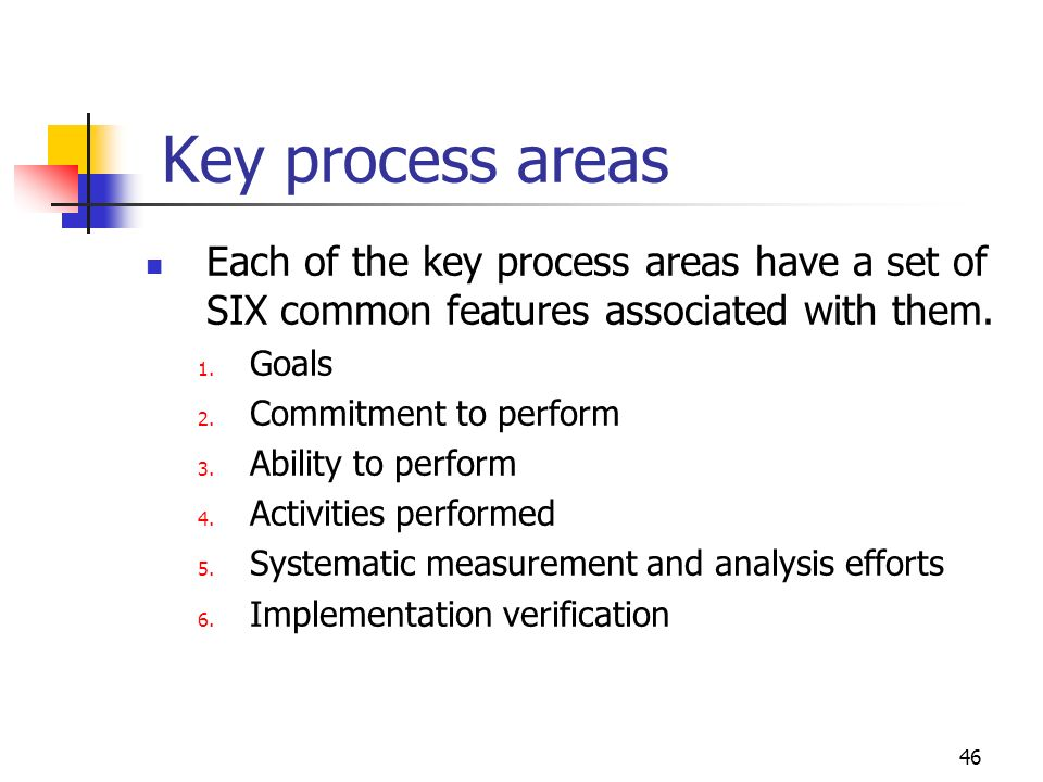 Key process areas Each of the key process areas have a set of SIX common features associated with them.