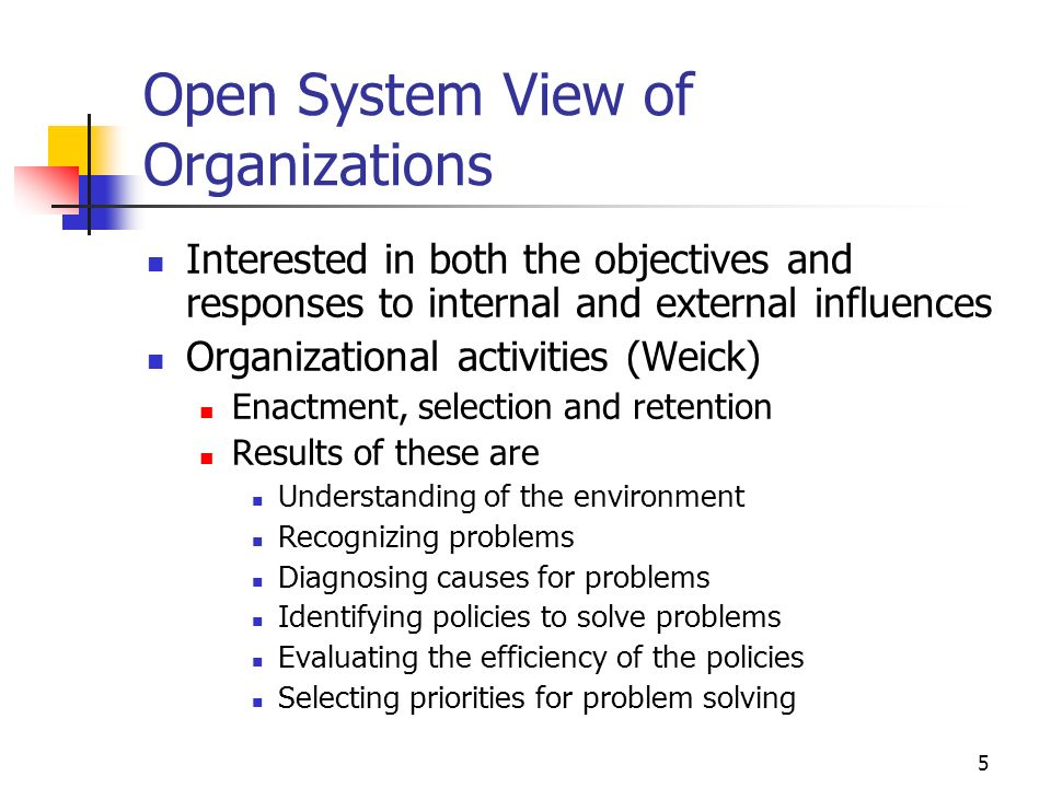 Open System View of Organizations