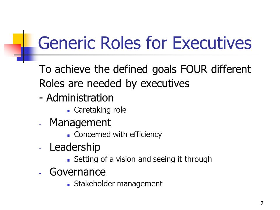 Generic Roles for Executives