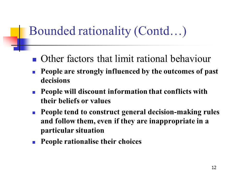 Bounded rationality (Contd…)