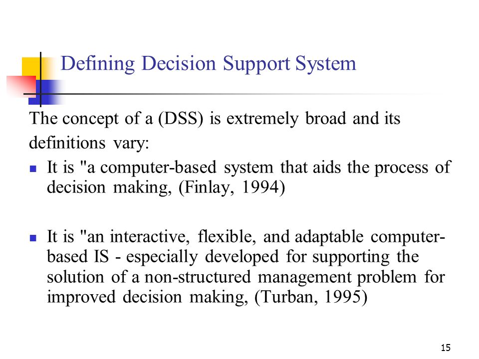 Defining Decision Support System