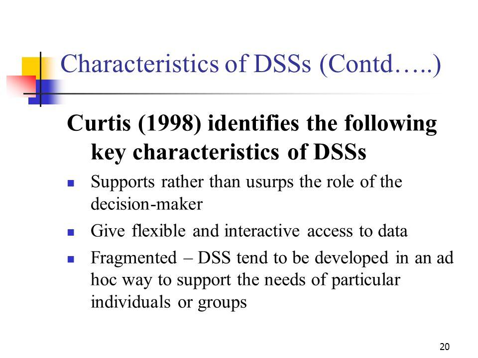 Characteristics of DSSs (Contd…..)