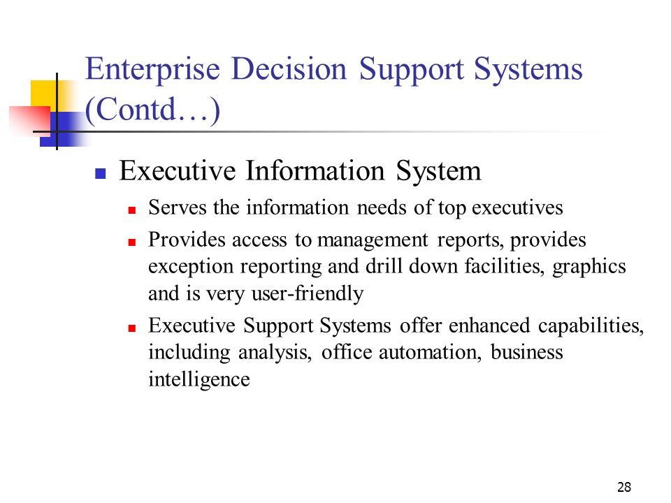 Enterprise Decision Support Systems (Contd…)