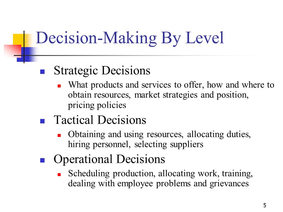 Decision-Making By Level