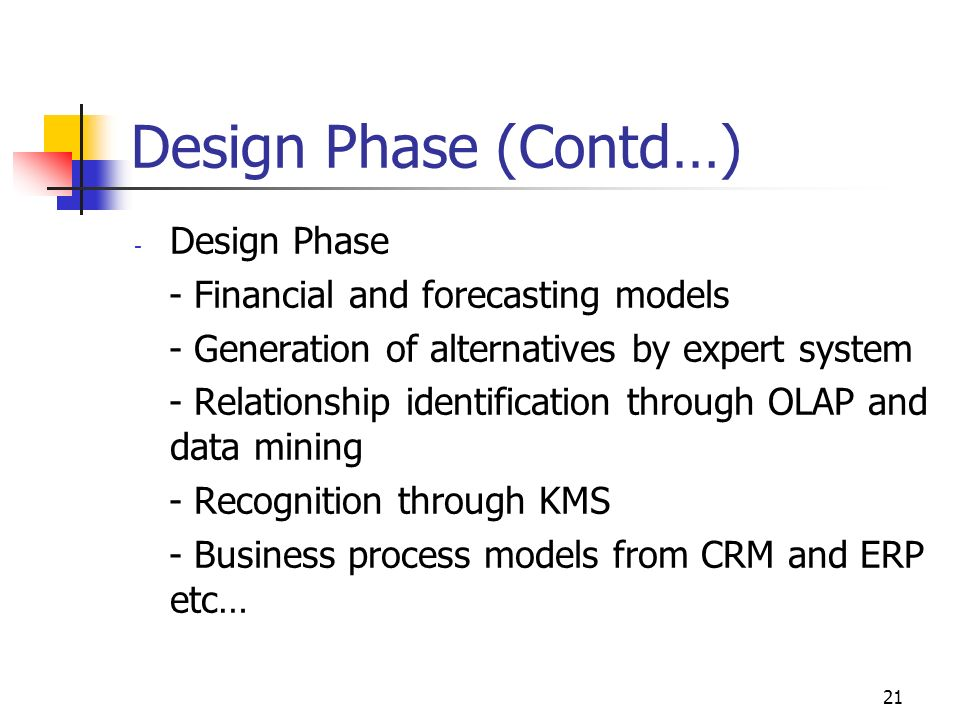 Design Phase (Contd…) Design Phase - Financial and forecasting models