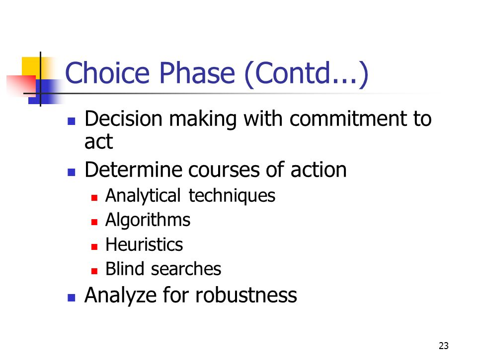 Choice Phase (Contd...) Decision making with commitment to act