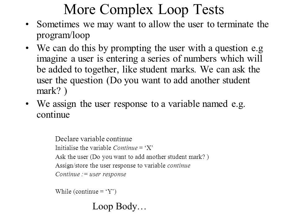 More Complex Loop Tests