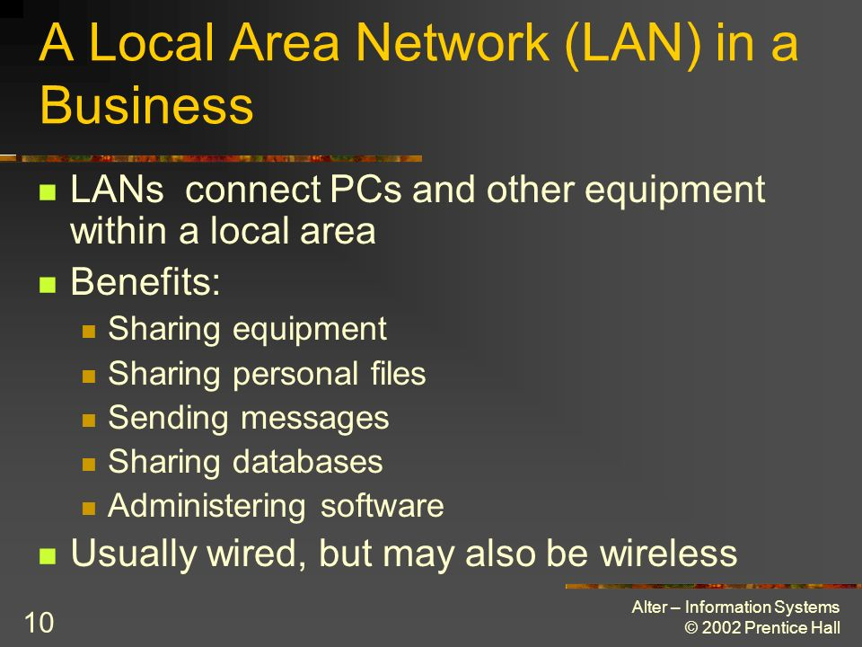 A Local Area Network (LAN) in a Business