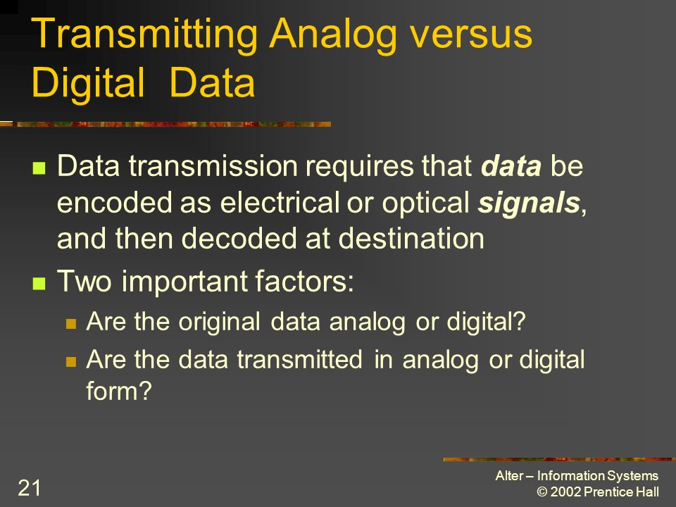 Transmitting Analog versus Digital Data