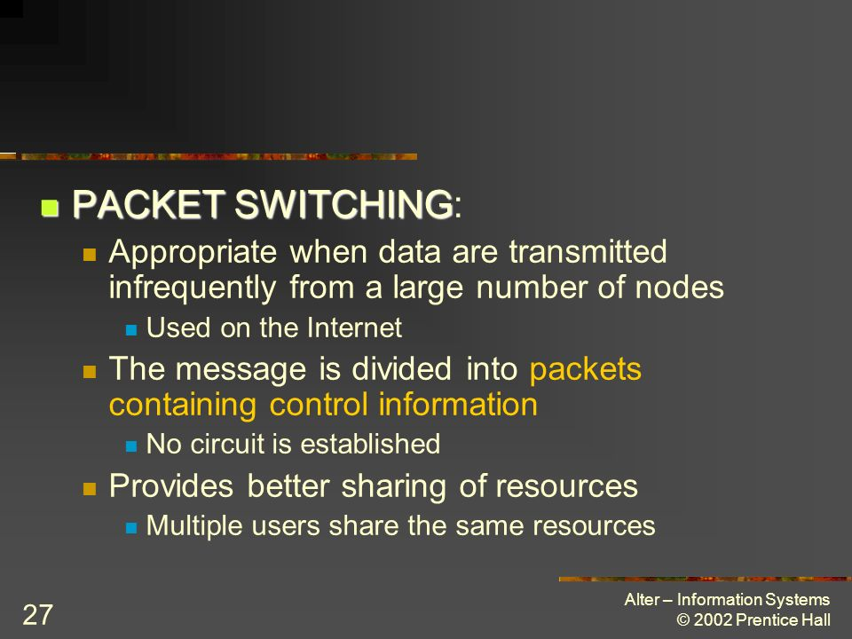 PACKET SWITCHING: Appropriate when data are transmitted infrequently from a large number of nodes. Used on the Internet.
