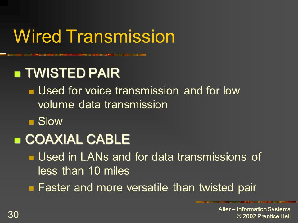 Wired Transmission TWISTED PAIR COAXIAL CABLE