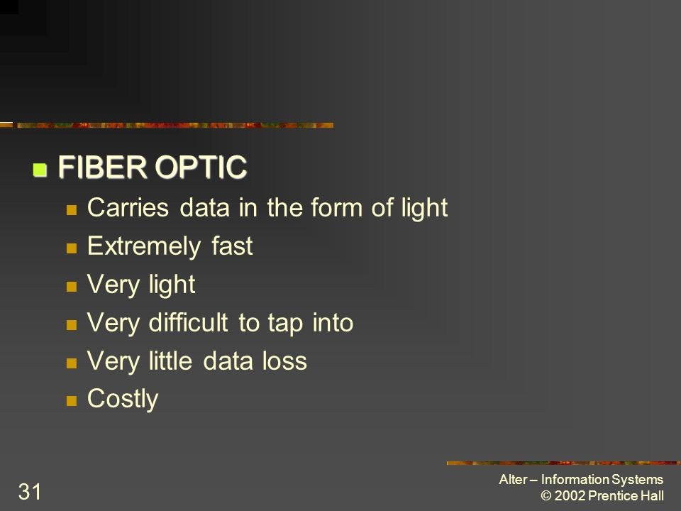 FIBER OPTIC Carries data in the form of light Extremely fast