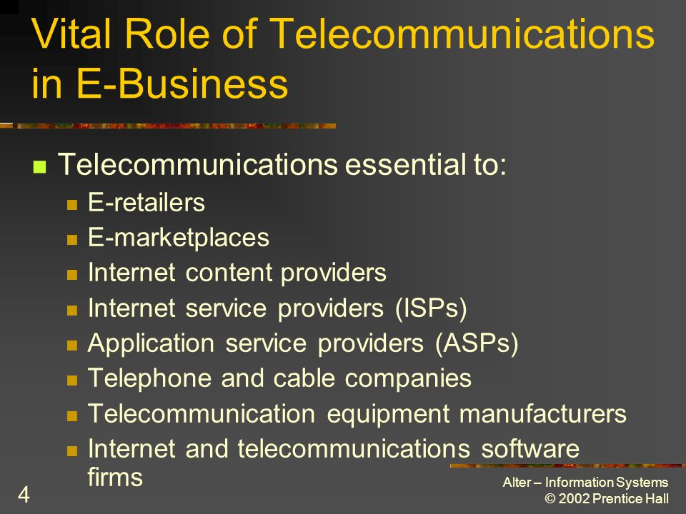 Vital Role of Telecommunications in E-Business