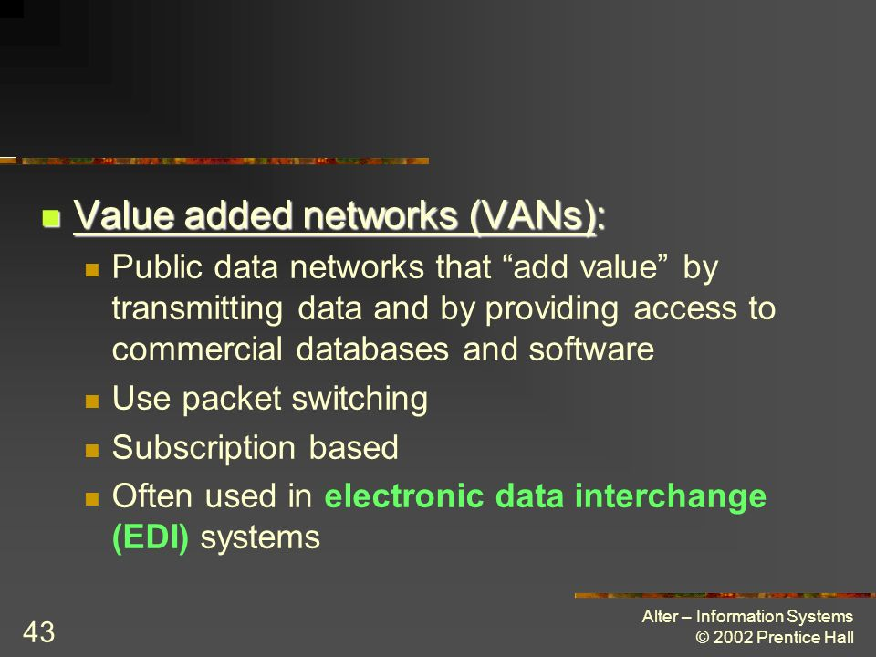 Value added networks (VANs):