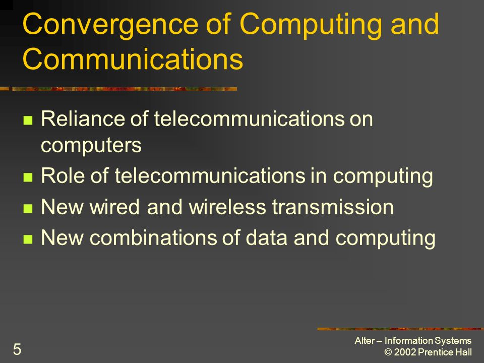 Convergence of Computing and Communications