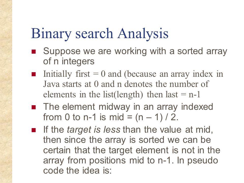 Binary search Analysis