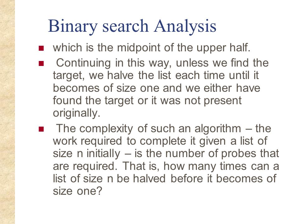 Binary search time complexity analysis