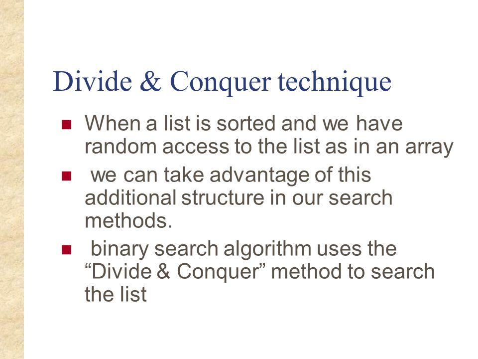 Divide & Conquer technique