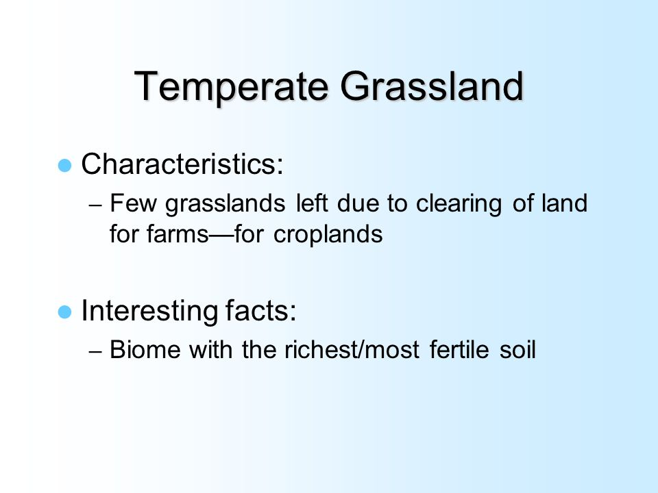 Features of Temperate Grasslands