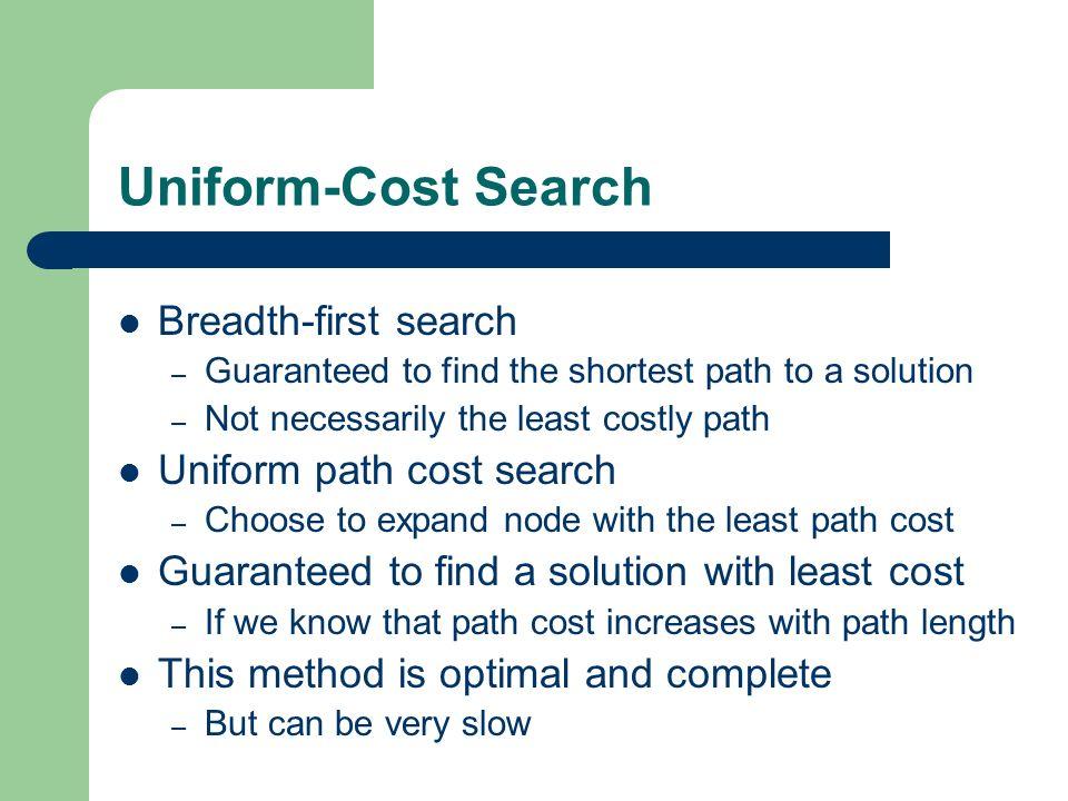 Uniform-Cost Search Breadth-first search Uniform path cost search