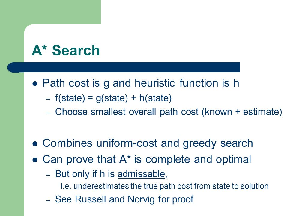 A* Search Path cost is g and heuristic function is h