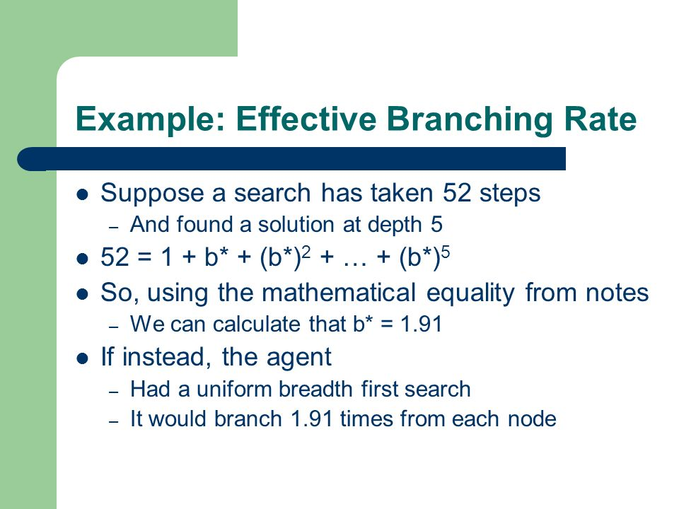 Example: Effective Branching Rate