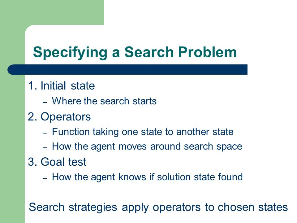 Specifying a Search Problem