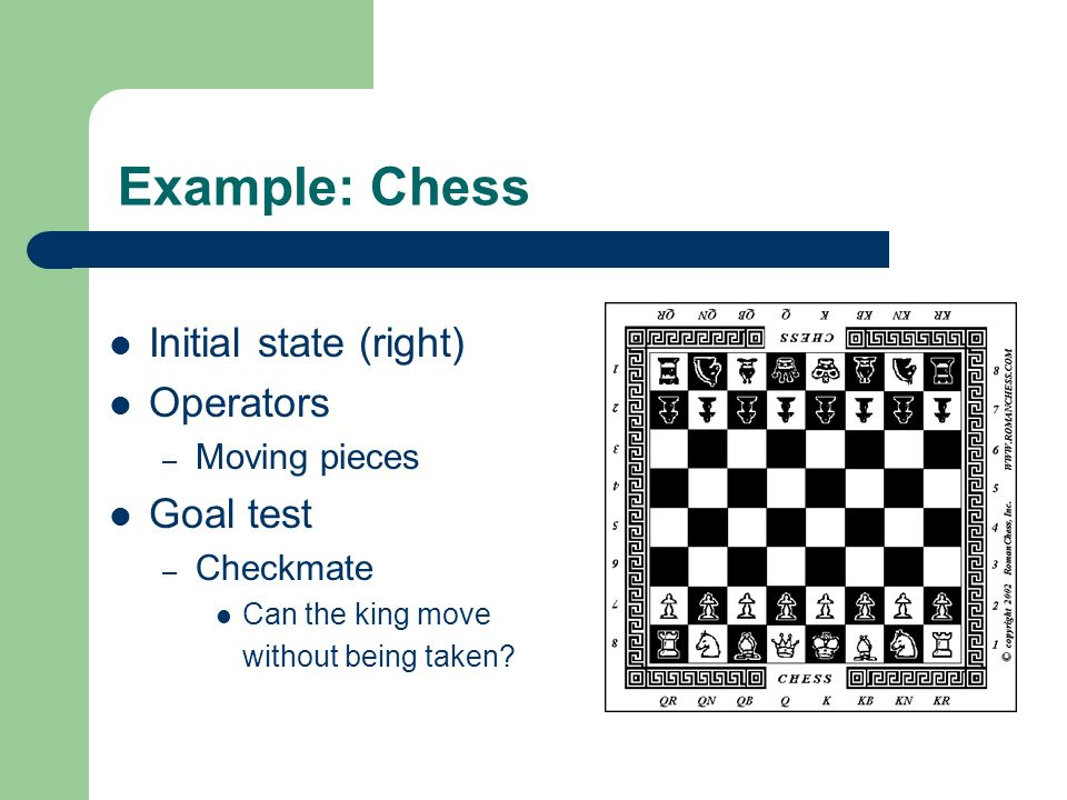 Example: Chess Initial state (right) Operators Goal test Moving pieces