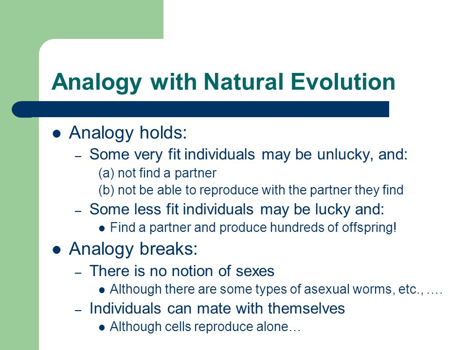 Analogy with Natural Evolution