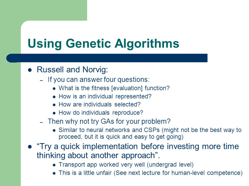 Using Genetic Algorithms