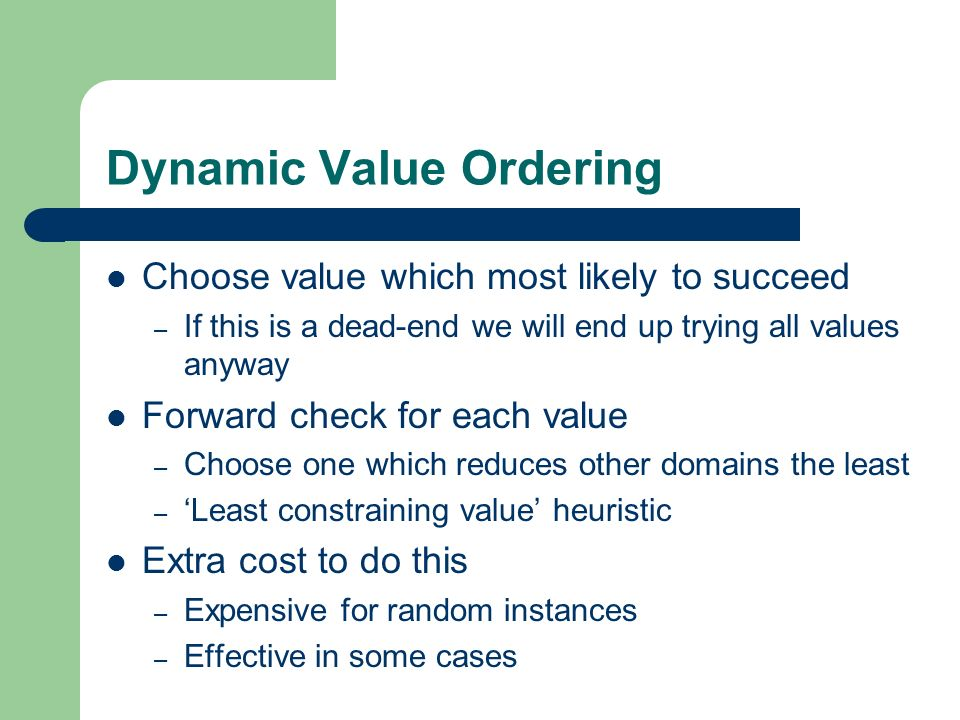 Dynamic Value Ordering