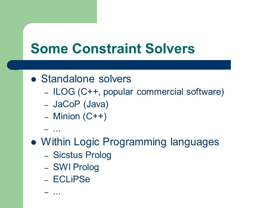 Some Constraint Solvers