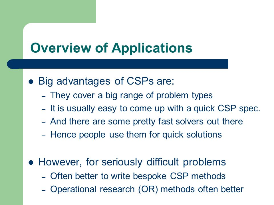 Overview of Applications