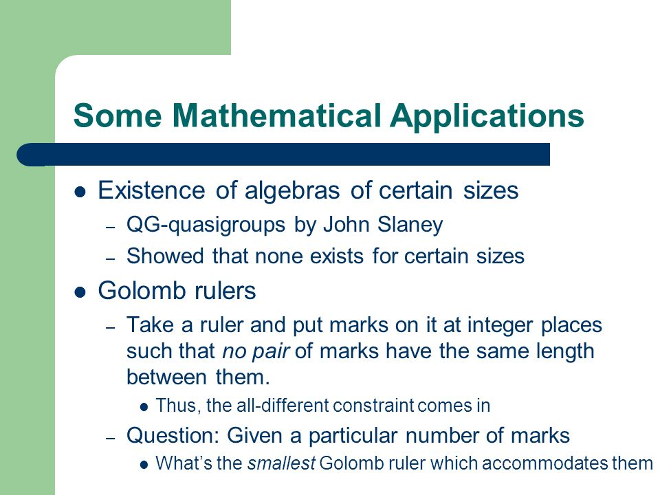 Some Mathematical Applications