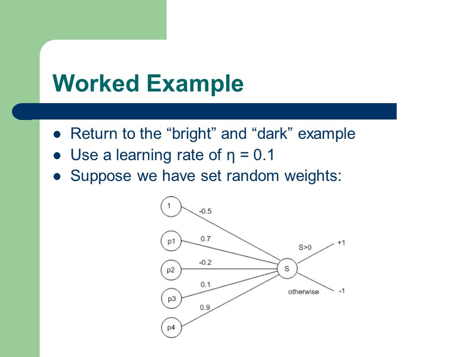 Worked Example Return to the bright and dark example