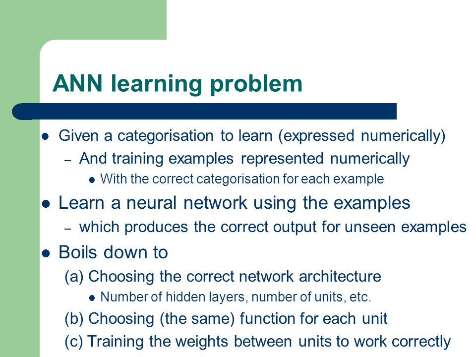 ANN learning problem Learn a neural network using the examples