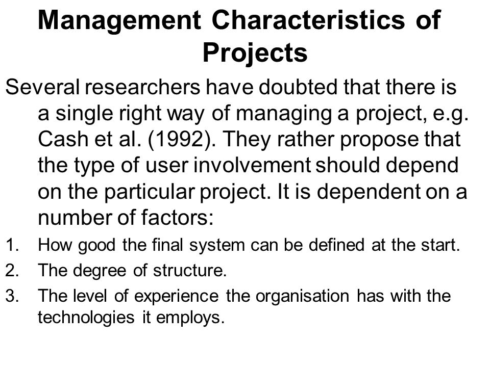 Management Characteristics of Projects