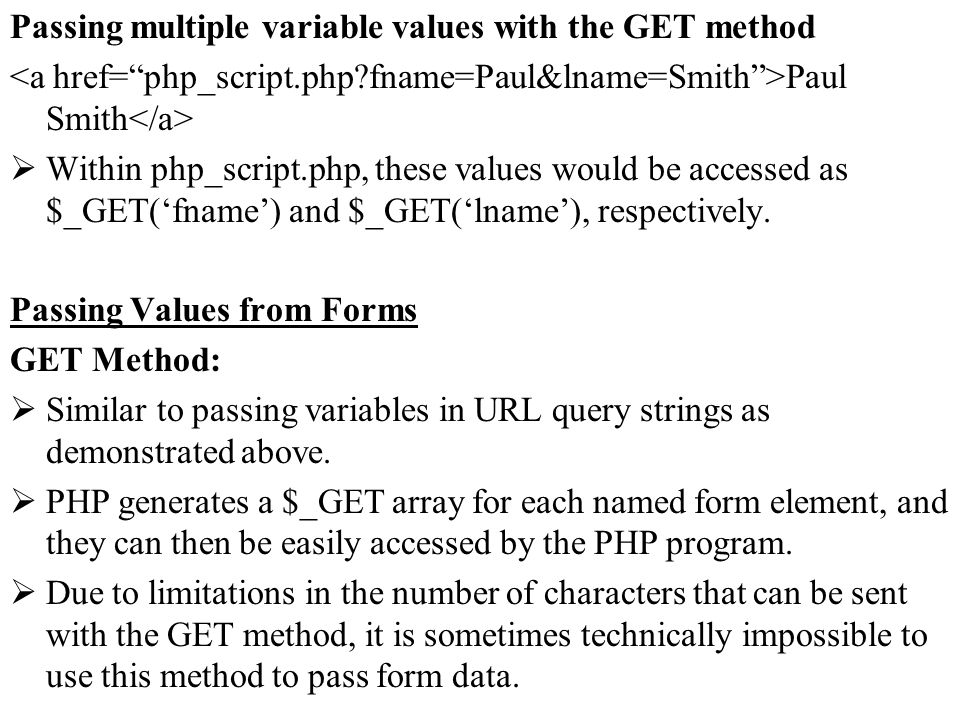 Passing multiple variable values with the GET method