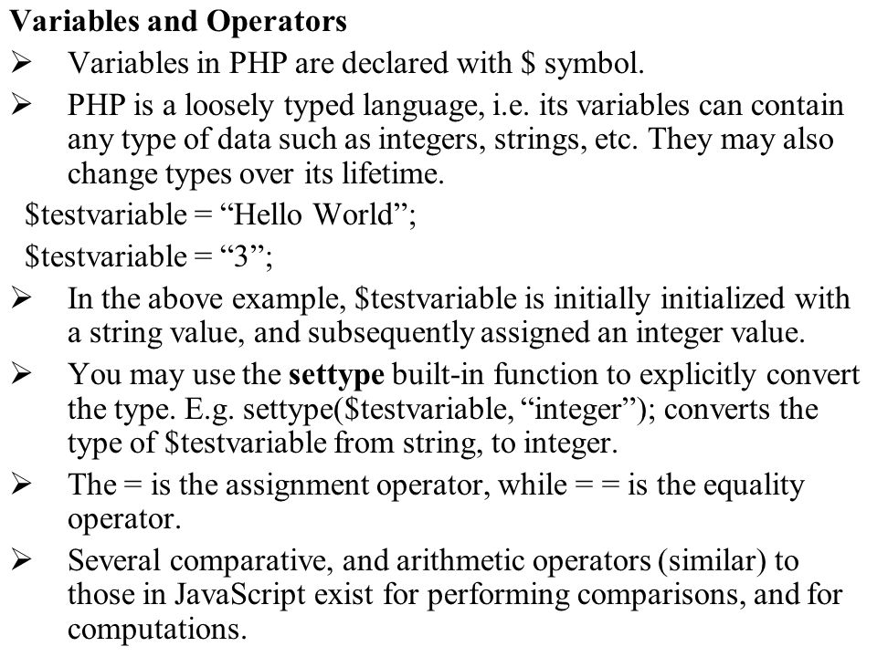 Variables and Operators