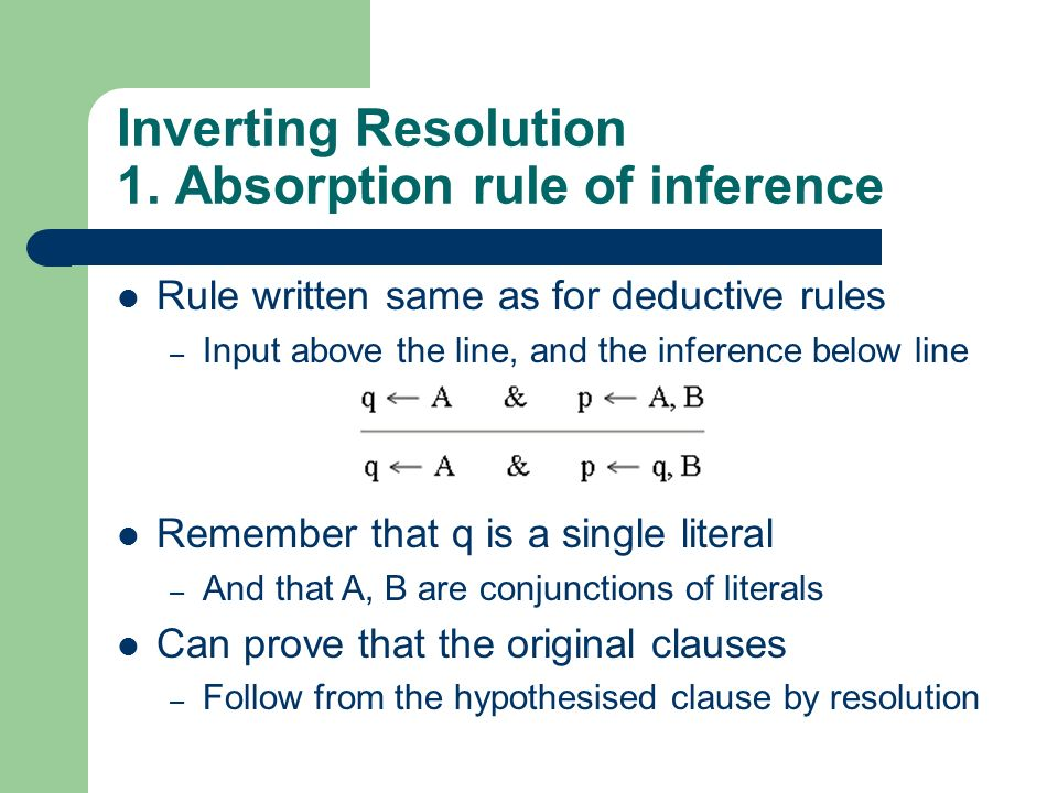 Inverting Resolution 1. Absorption rule of inference