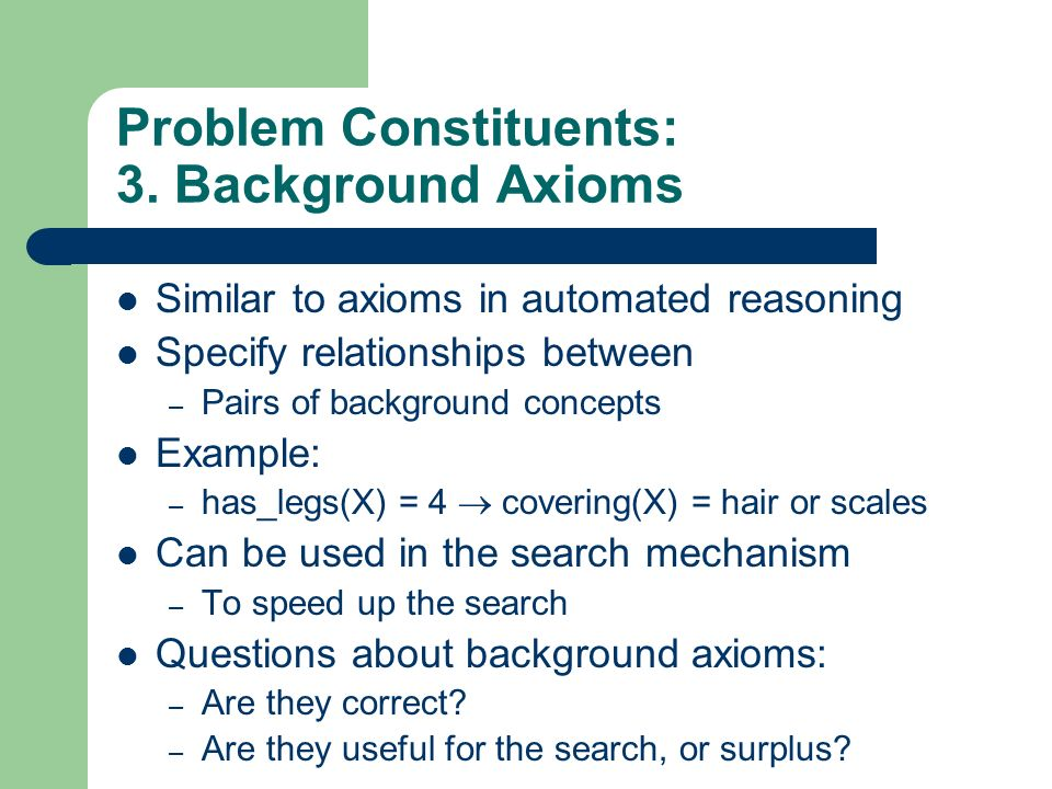 Problem Constituents: 3. Background Axioms