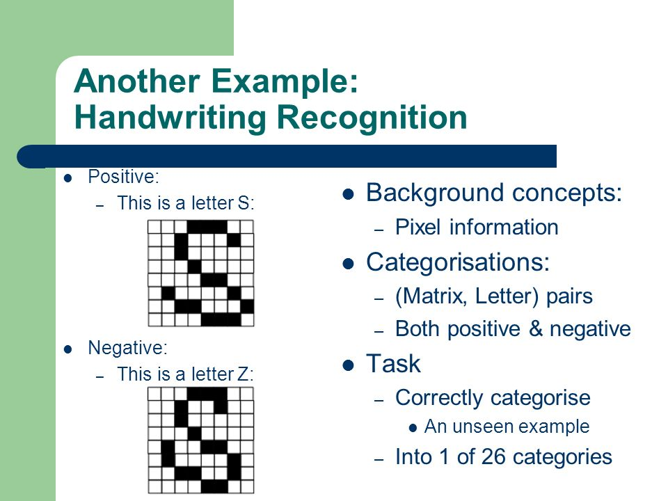 Another Example: Handwriting Recognition