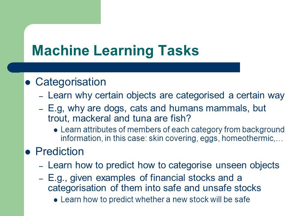 Machine Learning Tasks