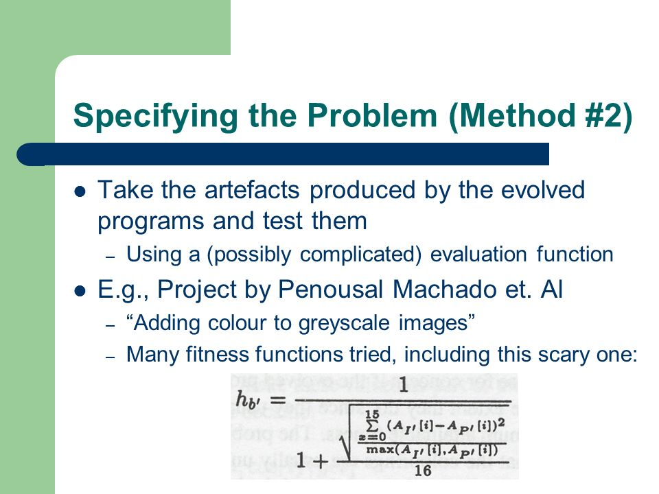 Specifying the Problem (Method #2)