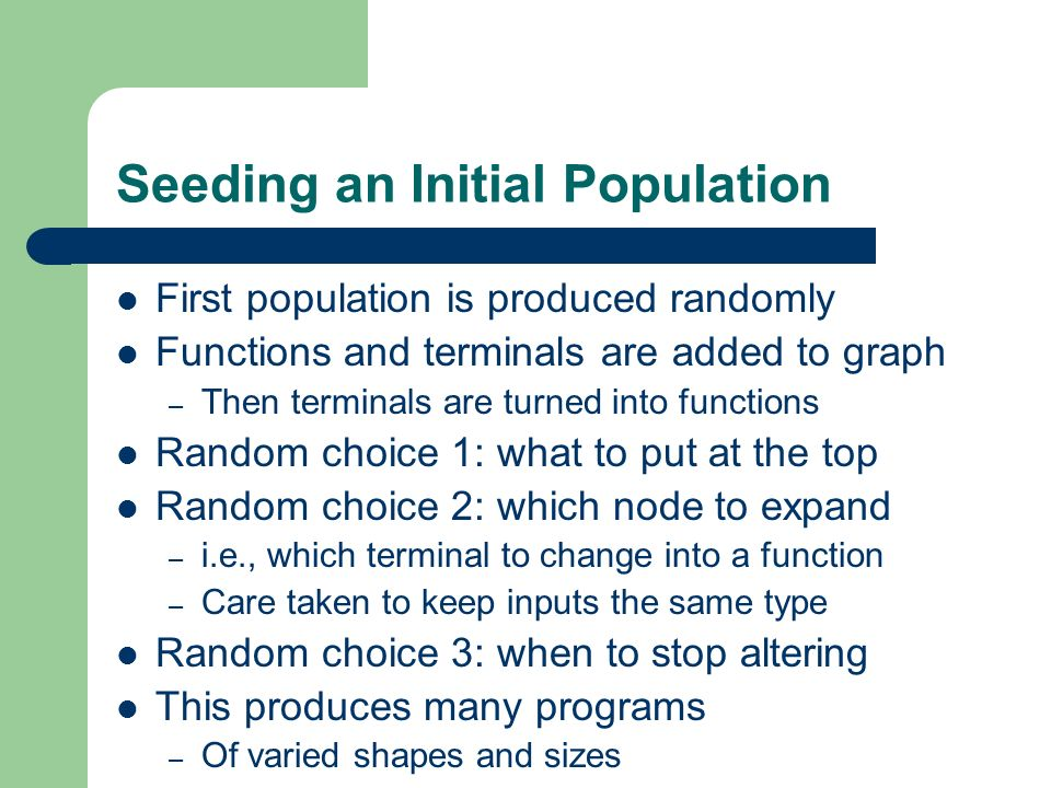 Seeding an Initial Population