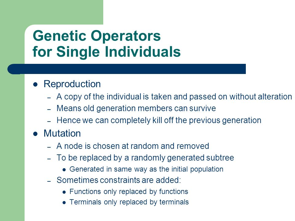Genetic Operators for Single Individuals