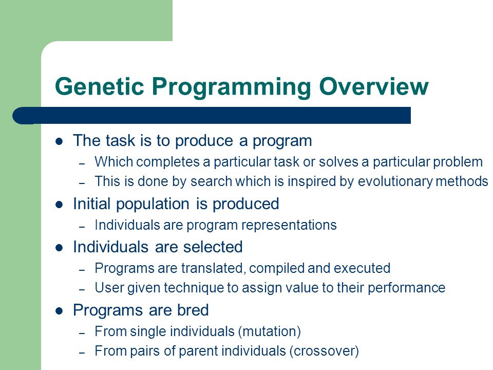 Genetic Programming Overview