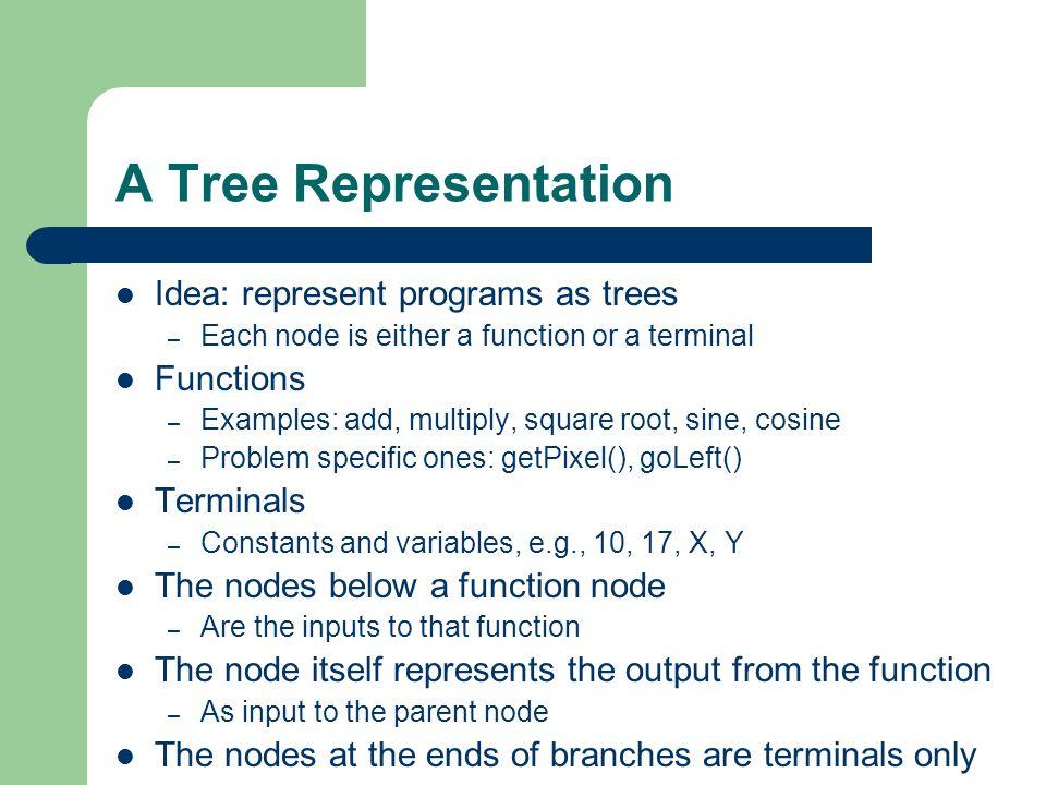 A Tree Representation Idea: represent programs as trees Functions